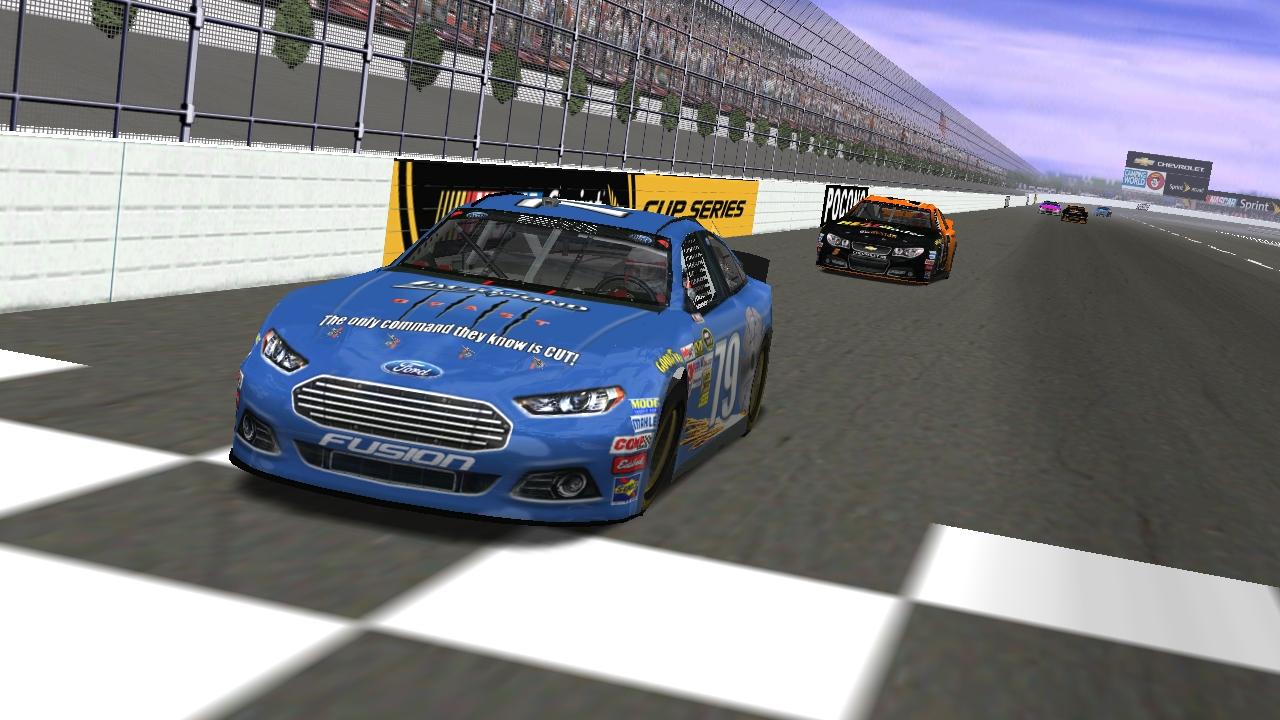 Breeze capturing victory over Donaldson at Pocono Speedway (Credit: KartRacer63 / HeatFinder)