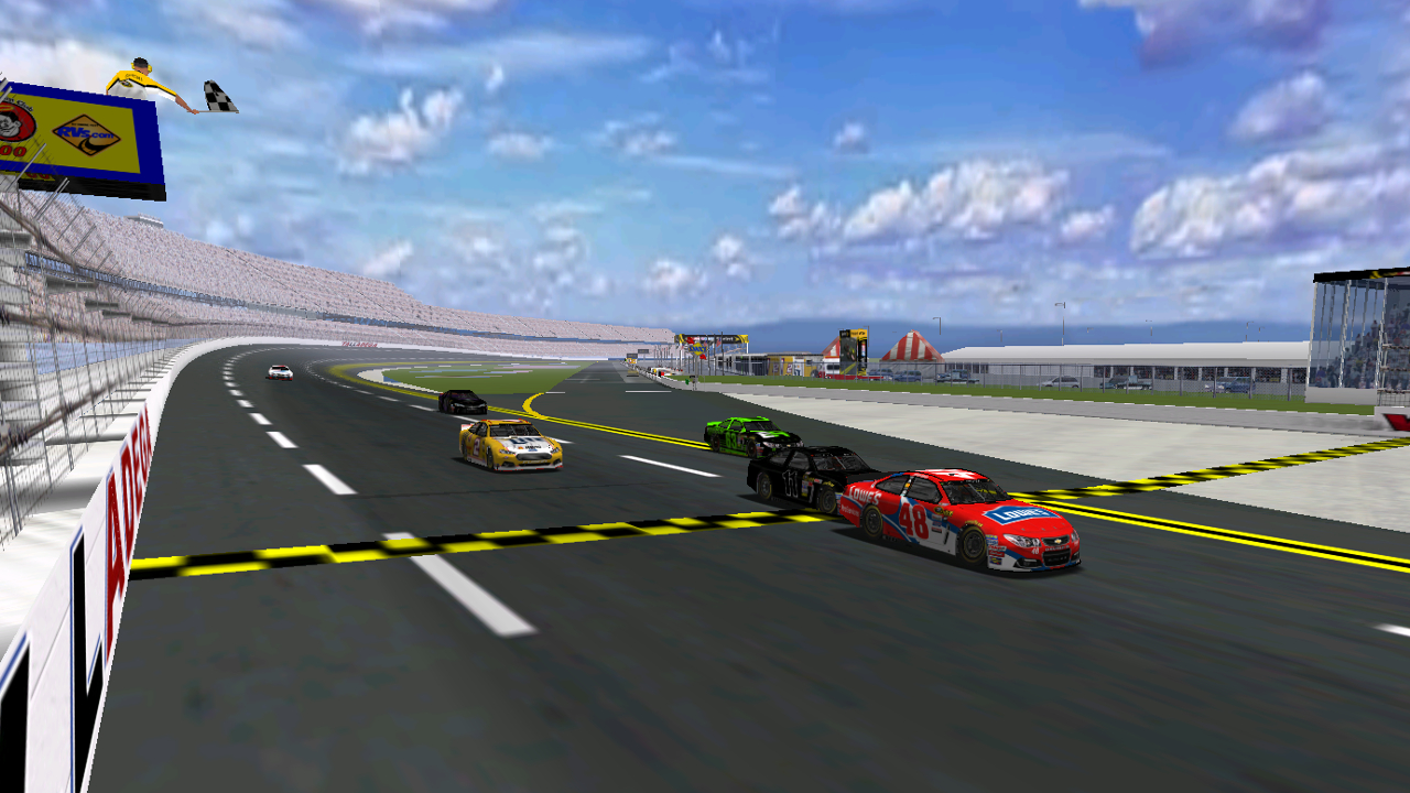 Field takes checkered flag at Talladega after a one lap shootout. (Credit: DusterLag / HeatFinder)