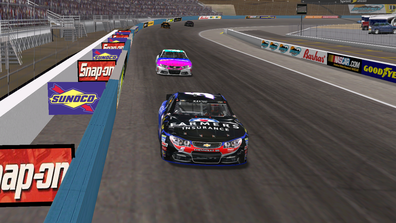Donaldson and KartRacer63 race to the checkered flag at Phoenix International Raceway. (Credit: DusterLag / HeatFinder)
