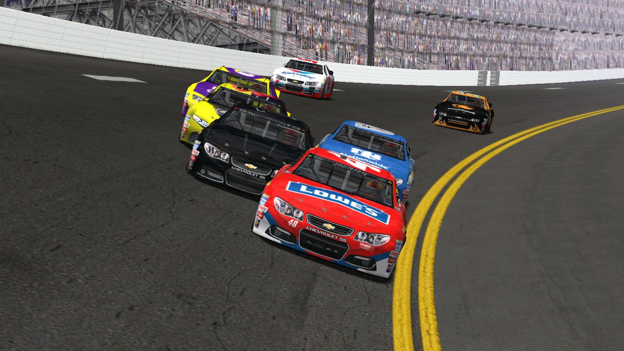 Drivers enter turn one on lap one, led by Rookiesrock. (Credit: DusterLag / HeatFinder)