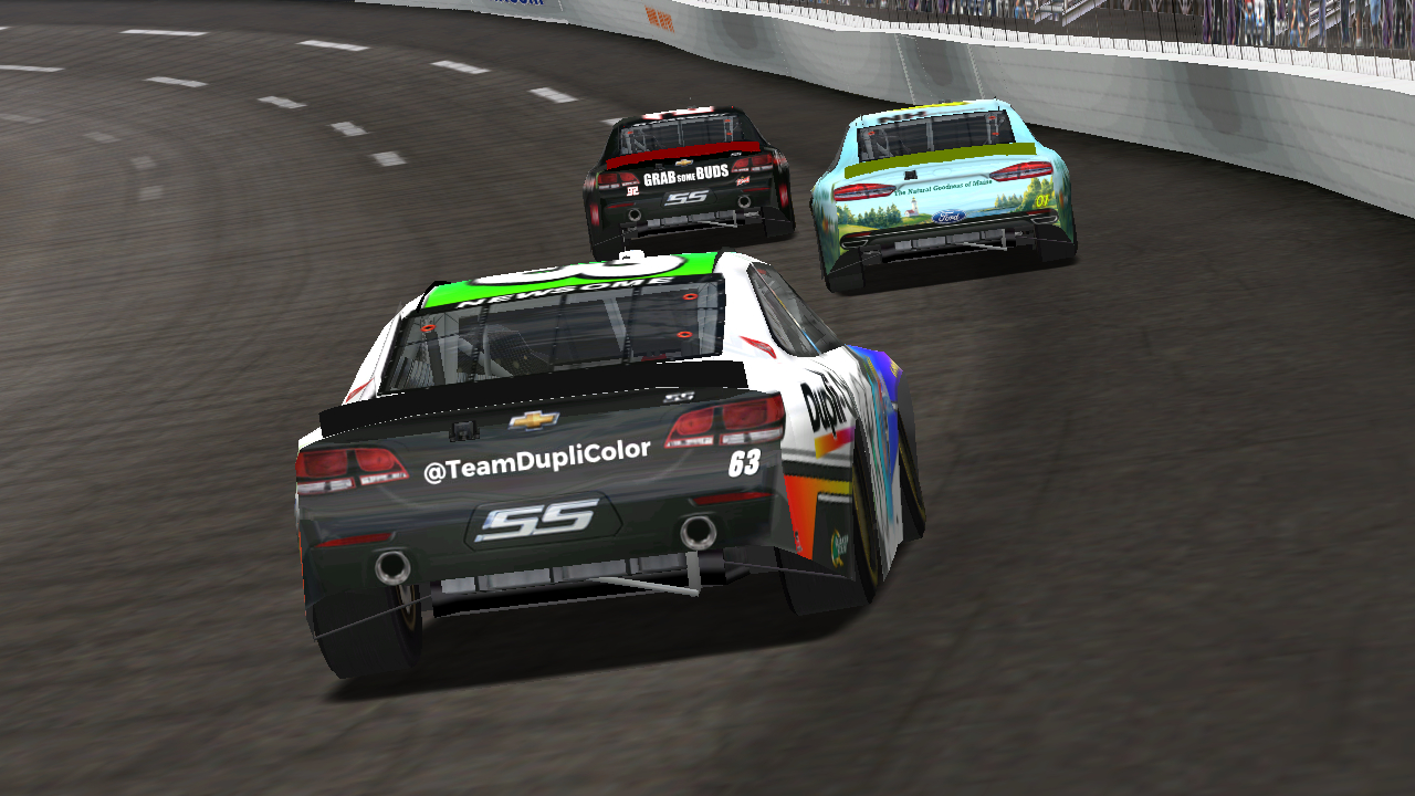 KartRacer63 prepares to lap DusterLag & BlackKnight at Richmond Raceway. (Credit: DusterLag / HeatFinder)