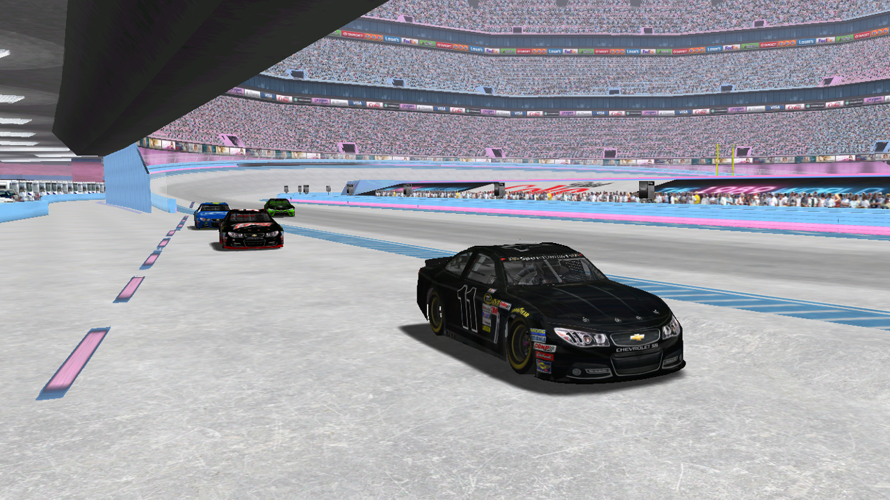 Speedyman11 and the field enter the pits Saturday night at the Taylor Swift Superdome. (Credit: DusterLag / HeatFinder)
