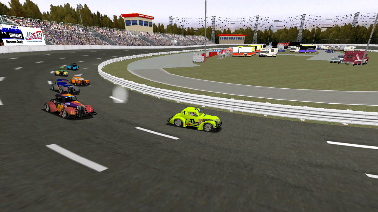 Speedyman11 leads the field into turn 1 at Ace on Monday night. (Credit: DusterLag / HeatFinder)
