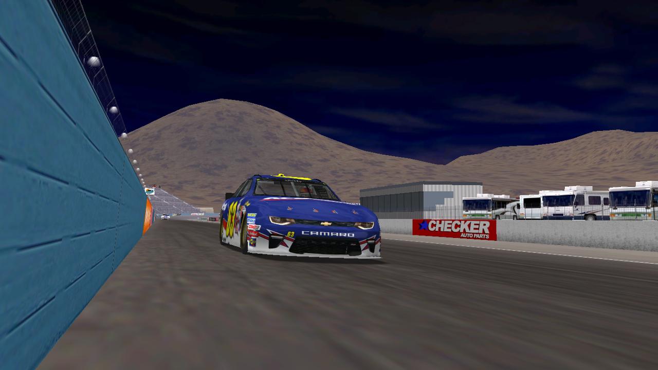 KartRacer63 takes the checkered flag at Phoenix International Raceway. (Credit: DusterLag / HeatFinder)
