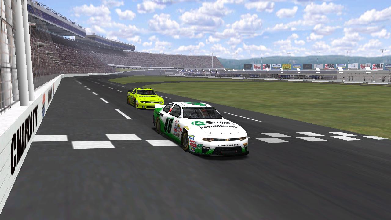 puttzracer and Speedyman11 take the checkered flag at Charlotte Motor Speedway. (Credit: DusterLag / HeatFinder)