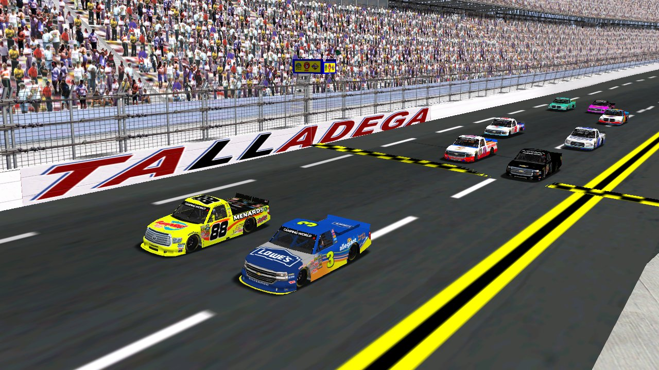 Wednesday night's Alabama 150 starting grid at Talladega Superspeedway. (Grumpy / HeatFinder)