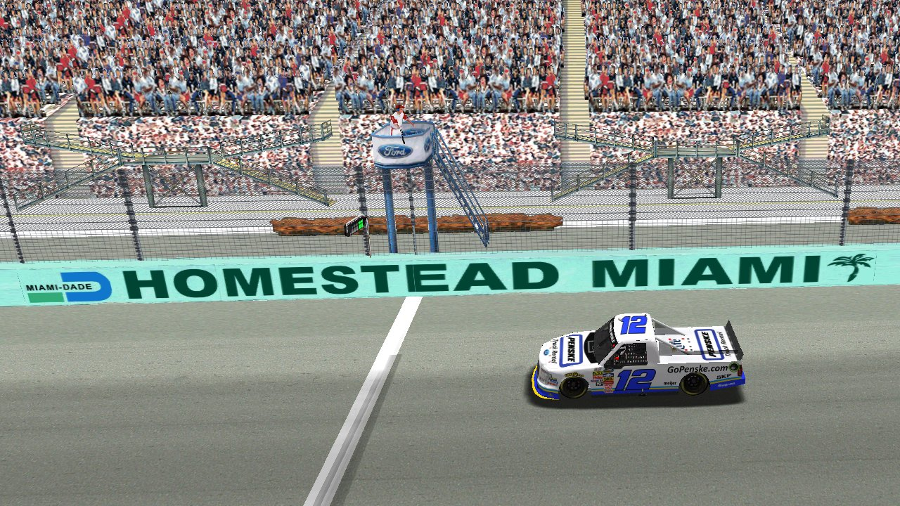 Fordly56 takes the checkered flag at Homestead-Miami Speedway. (Grumpy / HeatFinder)