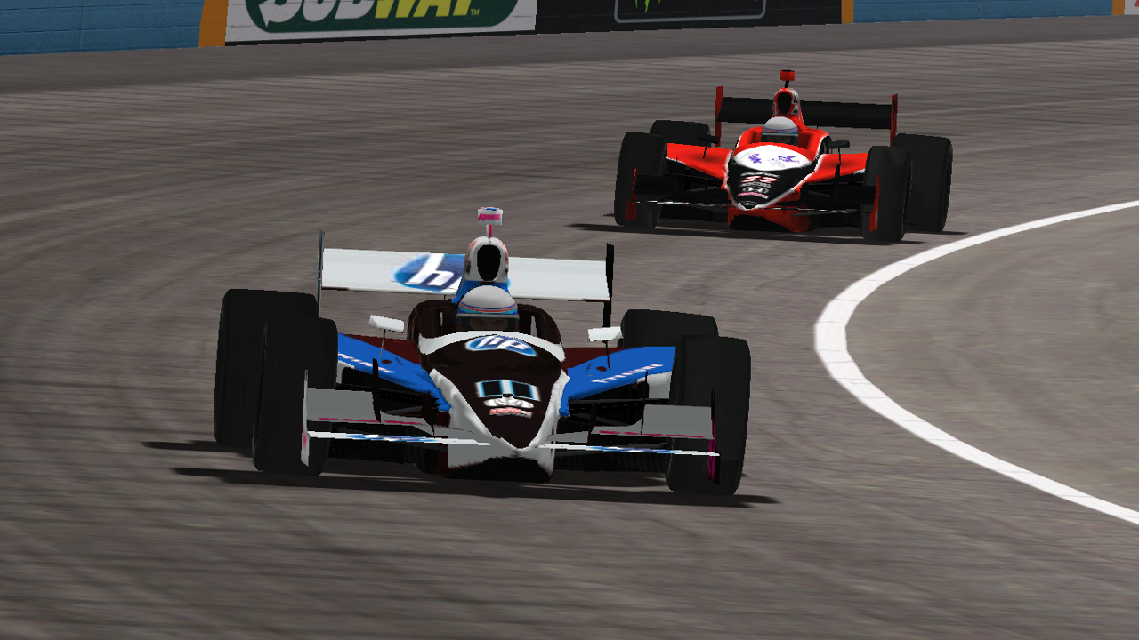 Speedyman11 races with ltfireman1604 at Phoenix International Raceway. (Credit: DusterLag / HeatFinder)