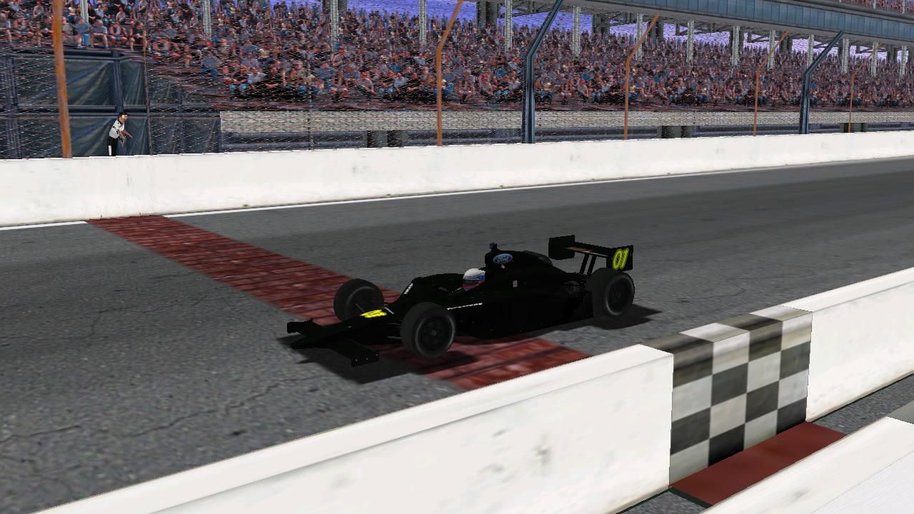 DusterLag takes the checkered flag at Indianapolis Motor Speedway. (Credit: DusterLag / HeatFinder)