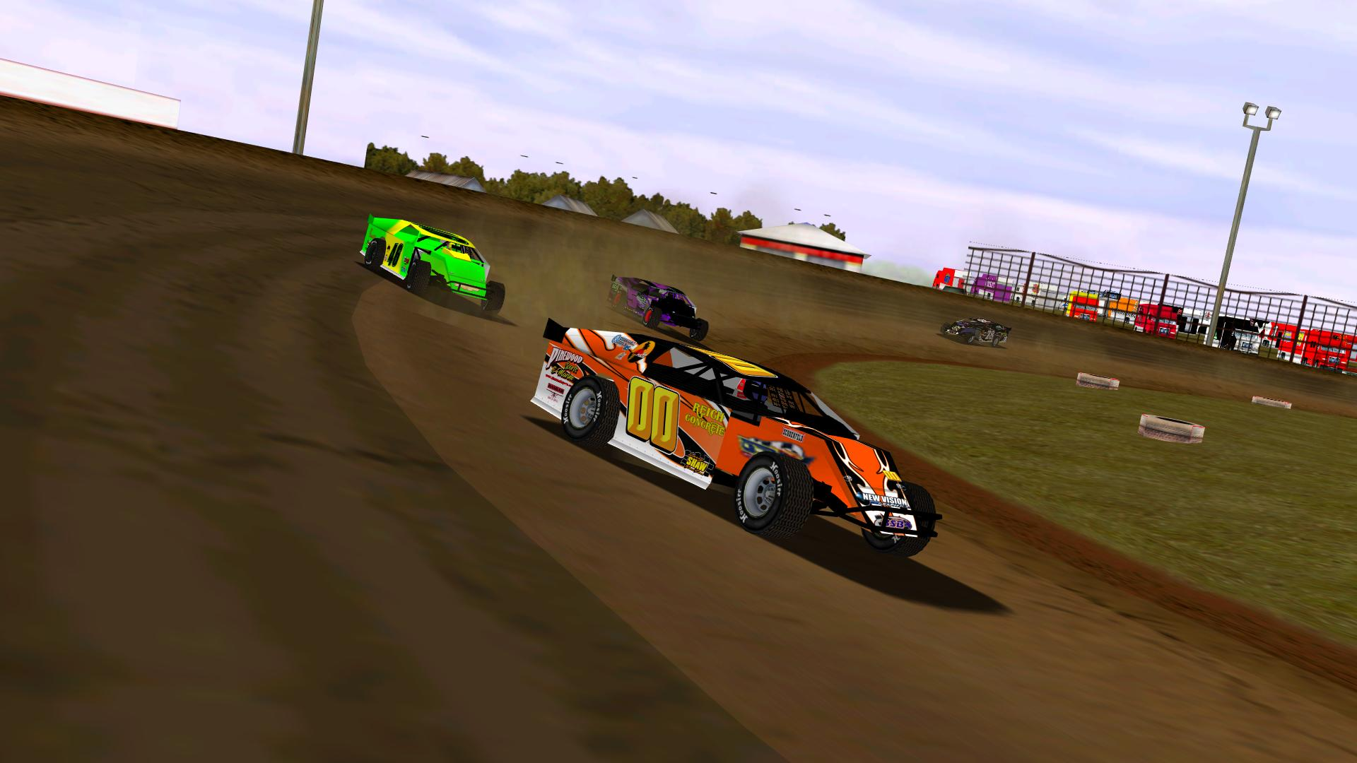 Drivers exiting turn four on the first lap at Silver Dollar. (NASCAR Heat Modified Association)