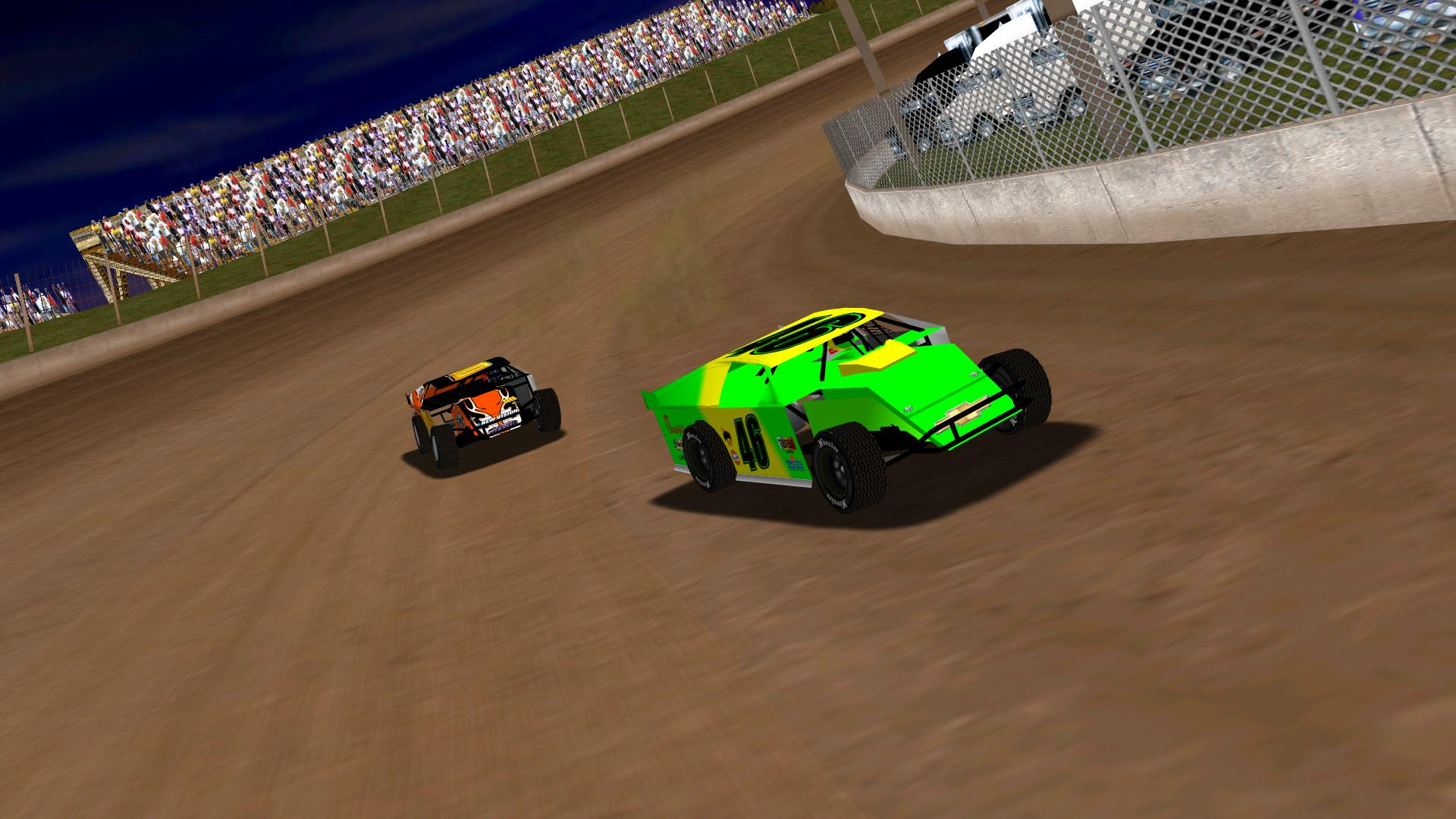 puttzracer leading KartRacer63 while sliding through turns three and four. (NASCAR Heat Modified Association)