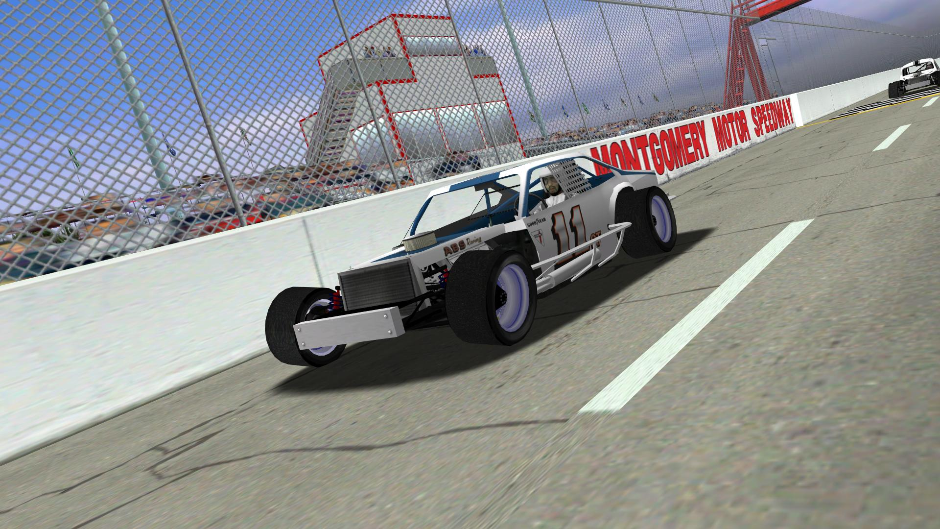Speedyman11 racing down the frontstretch at Montgomery. (NHMA)
