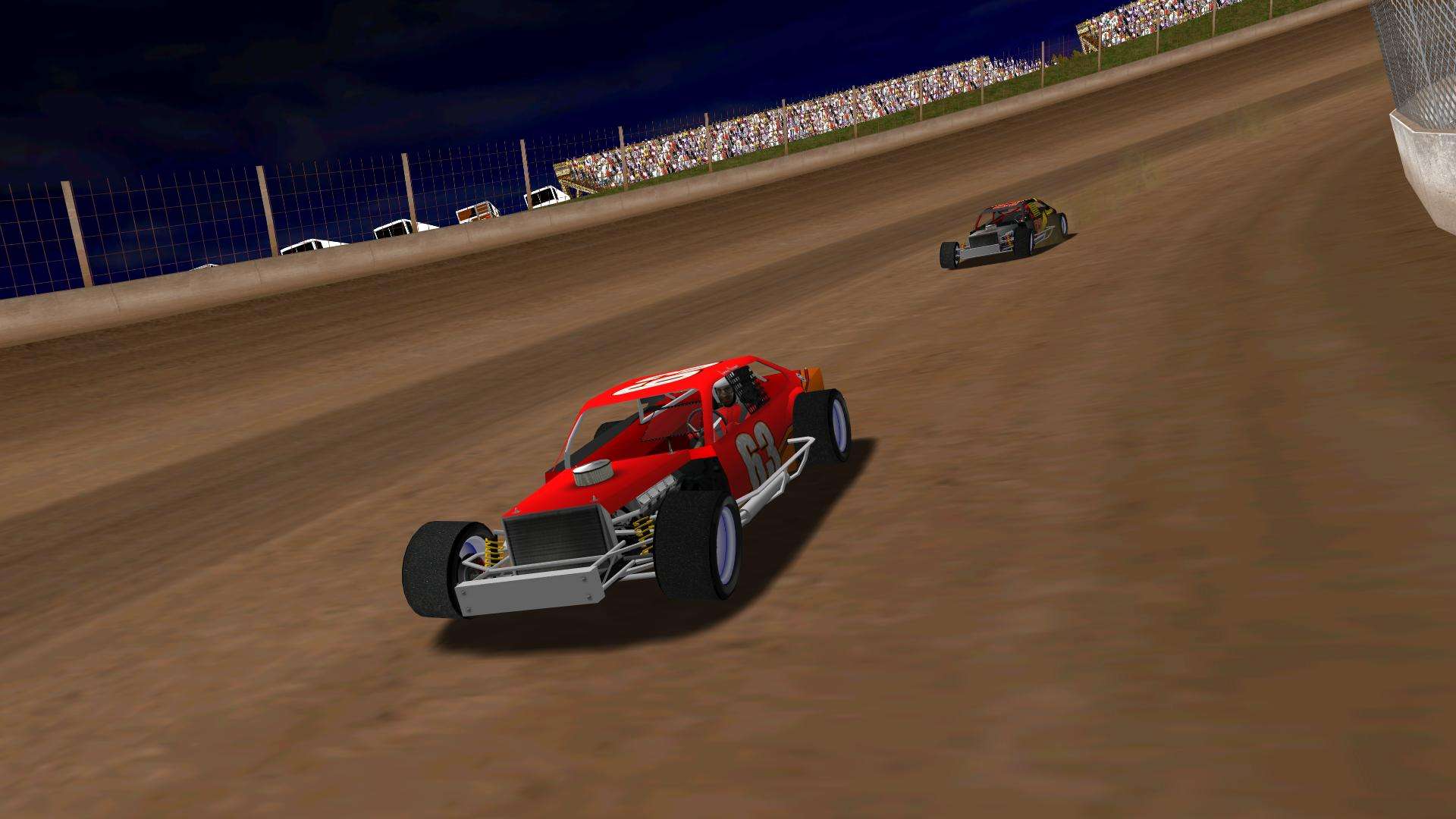 KartRacer63 leading BlackKnight through turn two. (NHMA)