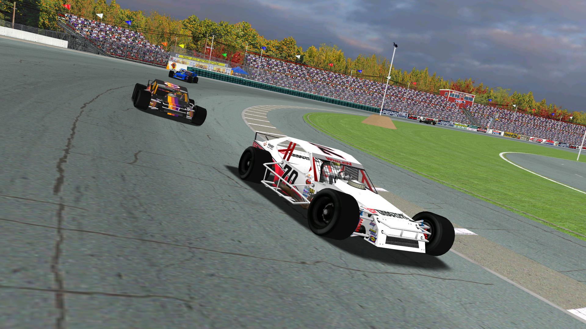 puttzracer and Rookiesrock pursue lepage71 in the closing laps at Beech Ridge. (NHMA)