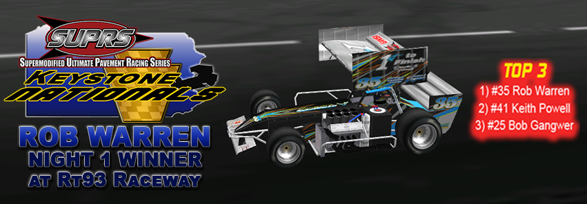 Rob Warren powered his way to a convincing win at RT 93 Raceway. (Victory Lane Art by BreezeGraphics.com)