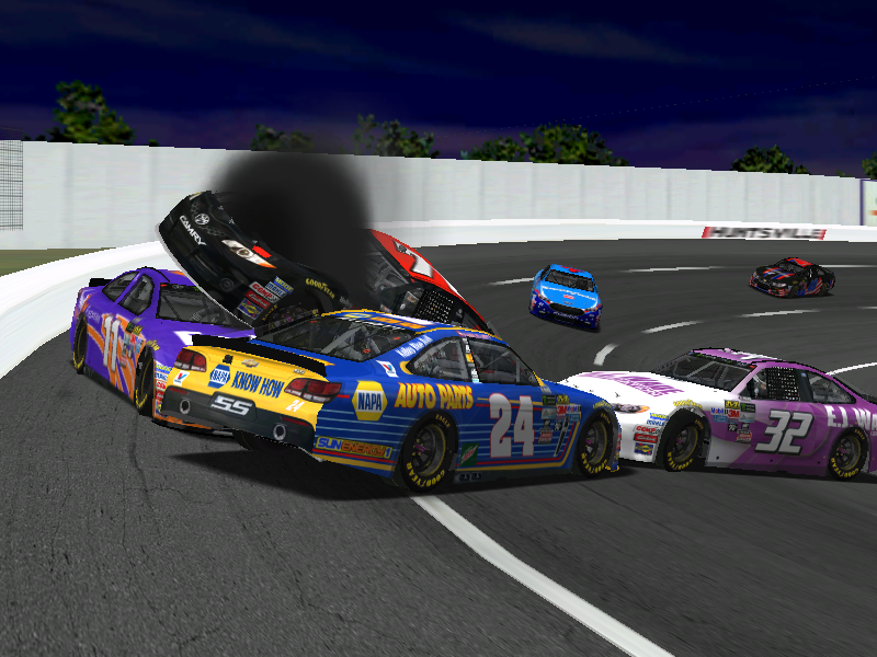 Here, you can see Bandit (blue #43) passing by a group of us as we swarmed on Speedy (purple #11) near the end. Photo credit: lepage71 / NHRL